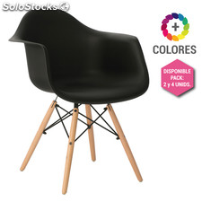 Silla Eames DSW - Sillon Tower Wood con Reposabrazos Negro