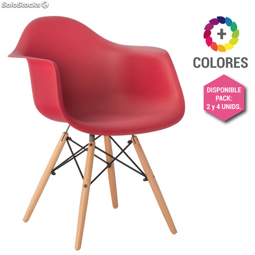 Silla Eames DSW - Tower Wood con Reposabrazos Rojo