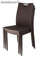 Silla ED-SDEDITCH, apilable, similpiel chocolate