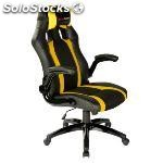 Silla gamer mars gaming MGC2BY color negro y amarillo asiento reclinable brazos
