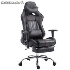 Silla gaming LOGAN con reposapiés, reclinable, con cojines, en piel color