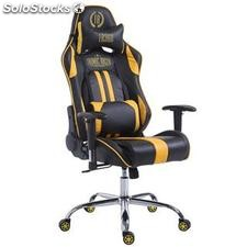 Silla gaming LOGAN, reclinable, con cojines, en piel color negro/amarillo