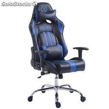 Silla gaming LOGAN, reclinable, con cojines, en piel color negro/azul