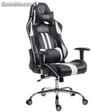 Silla gaming LOGAN, reclinable, con cojines, en piel color negro/blanco