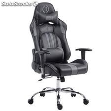Silla gaming LOGAN, reclinable, con cojines, en piel color negro/gris