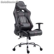 Silla gaming LOGAN, reclinable, con cojines, en piel color negro/marrón