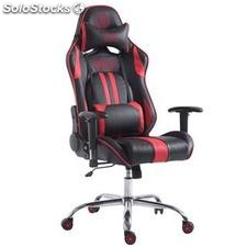 Silla gaming LOGAN, reclinable, con cojines, en piel color negro/rojo