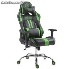 Silla gaming LOGAN, reclinable, con cojines, en piel color negro/verde