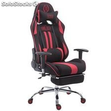 Silla gaming LOGAN TELA con reposapiés, reclinable, con cojines, en color
