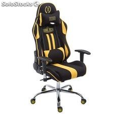 Silla gaming LOGAN TELA, reclinable, con cojines, en color negro/amarillo