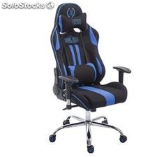 Silla gaming LOGAN TELA, reclinable, con cojines, en color negro/azul