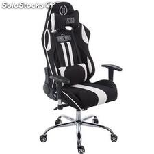 Silla gaming LOGAN TELA, reclinable, con cojines, en color negro/blanco