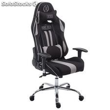 Silla gaming LOGAN TELA, reclinable, con cojines, en color negro/gris