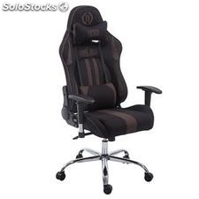 Silla gaming LOGAN TELA, reclinable, con cojines, en color negro/marrón