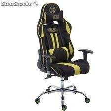Silla gaming LOGAN TELA, reclinable, con cojines, en color negro/verde
