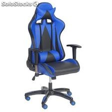 Silla gaming RACING LUCA, reclinable, en piel color negro/azul