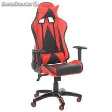 Silla gaming RACING LUCA, reclinable, en piel color negro/rojo
