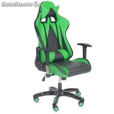 Silla gaming RACING LUCA, reclinable, en piel color negro/verde