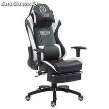 Silla gaming TURBO con reposapiés, reclinable, con cojines, en piel color