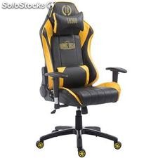 Silla gaming TURBO, reclinable, con cojines, en piel color negro/amarillo