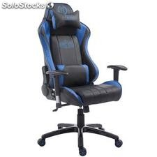 Silla gaming TURBO, reclinable, con cojines, en piel color negro/azul