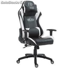 Silla gaming TURBO, reclinable, con cojines, en piel color negro/blanco