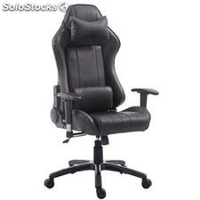 Silla gaming TURBO, reclinable, con cojines, en piel color negro/marrón