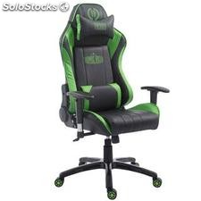 Silla gaming TURBO, reclinable, con cojines, en piel color negro/verde