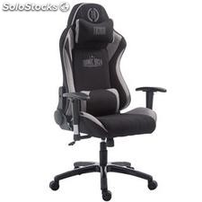 Silla gaming TURBO TELA, reclinable, con cojines, en color negro/gris