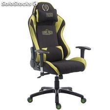 Silla gaming TURBO TELA, reclinable, con cojines, en color negro/verde