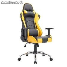 Silla gaming ZELDA, reclinable, con cojines, en piel color negro/amarillo
