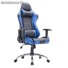 Silla gaming ZELDA, reclinable, con cojines, en piel color negro/azul