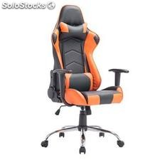 Silla gaming ZELDA, reclinable, con cojines, en piel color negro/naranja