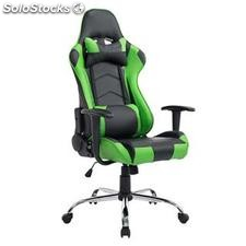 Silla gaming ZELDA, reclinable, con cojines, en piel color negro/verde