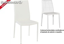 Silla IN-SDINESBL, apilable, similpiel blanca