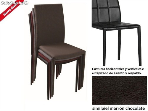 Silla in sdinesch apilable similpiel marr n chocolate for Sillas comedor marron chocolate
