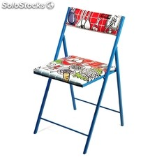 Silla plegable Decorada Azul
