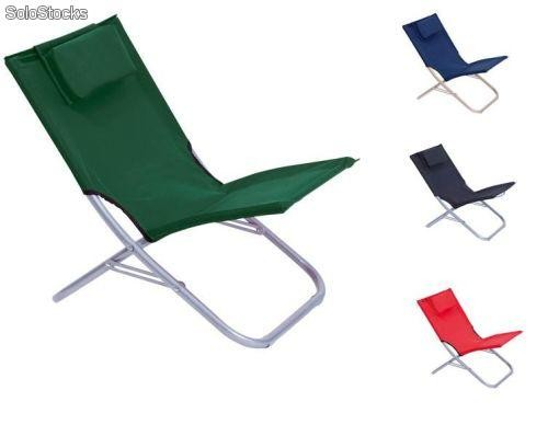 Silla plegable para playa con almohada for Sillas para la playa