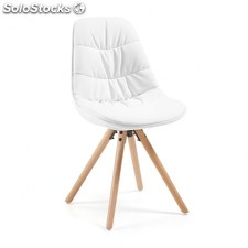 Silla Ralf Wood Tapizada - Color - Blanco