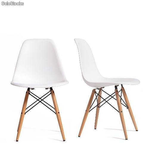Silla sillas r plica eames chair blanco rojo negro for Replicas de sillas