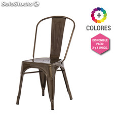 Silla Tolix Style - Silla Industrial Metálica Bronce