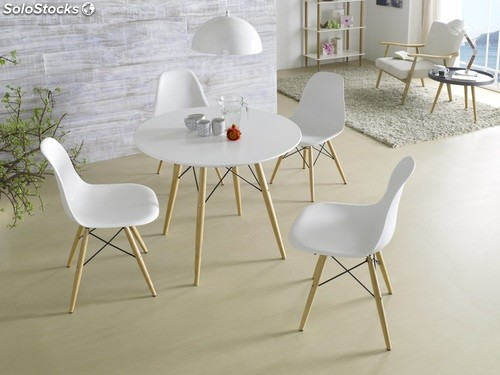 Silla tower nordica patas madera blanco