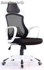 Sillon gaming kelly blanco malla y tejido negro