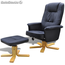 Sillón para TV de cuero artificial reclinable con reposapiés negro