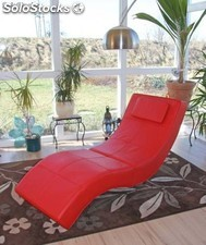 sillon reclinable chaise longue cuero rojo relax