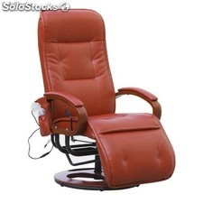 sillon relax masaje reclinable color coñac