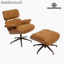 Sillón reposapies cuero retro by Craftenwood