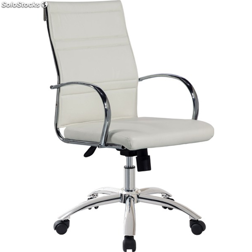 Sillon silla blanca giratoria elevable con ruedas de for Sillas de salon blancas