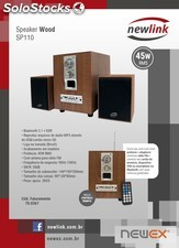 Sistema de som 2.1 speaker wood bluetooth