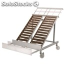 Sloping display stand carrier and removable front stretch upper extension-for